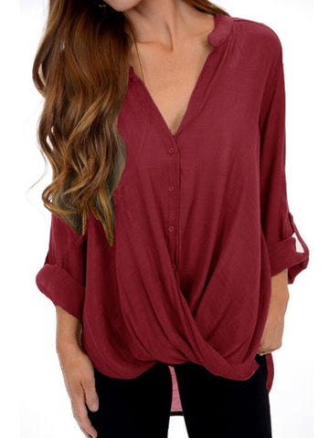 df38fb3b26a3e0 V-Neck Single Breasted Irregular Blouses