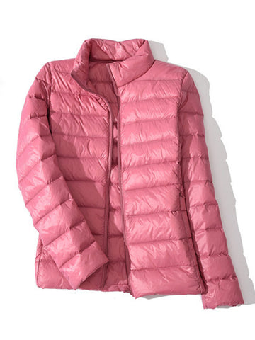 Casual Soft Zipper Fly Women Down Jackets