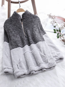 Fleece Stand Collar Patchwork Long Sleeve Sweatshirts