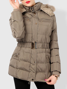 Faux Fur Hooded Quilted Down Coat