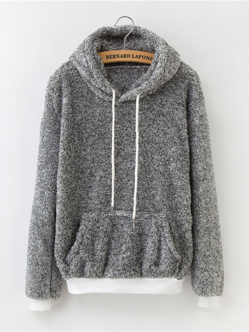 Fleece Solid Color Hooded Pocket Sweatshirts