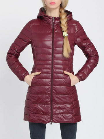 Casual Pure Color Hooded Long Sleeve Women Down Jackets