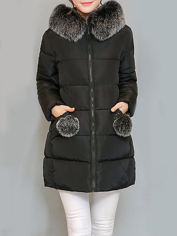 Women Thicken Faux Fur Collar Pure Color Hooded Cotton Down Coats