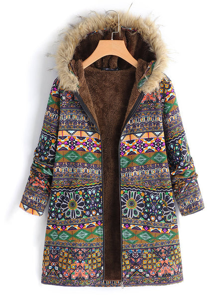 Ethnic Printed Faux Fur Hooded Fleece Autumn Winter Coat