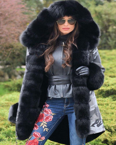 Thick Warm Black Camouflage Faux Fur Plus Size Jacket Coat