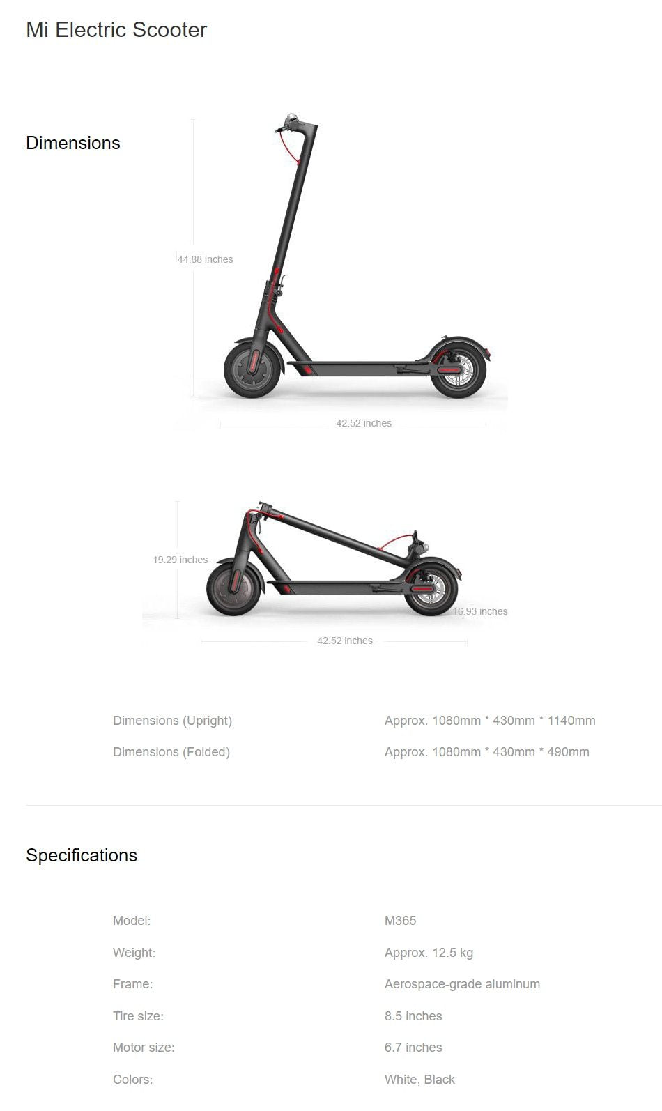 specification of electric scooter