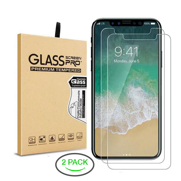 Tempered Glass Screen Protector for iPhone 6/7/8/X Plus - 2 Pack