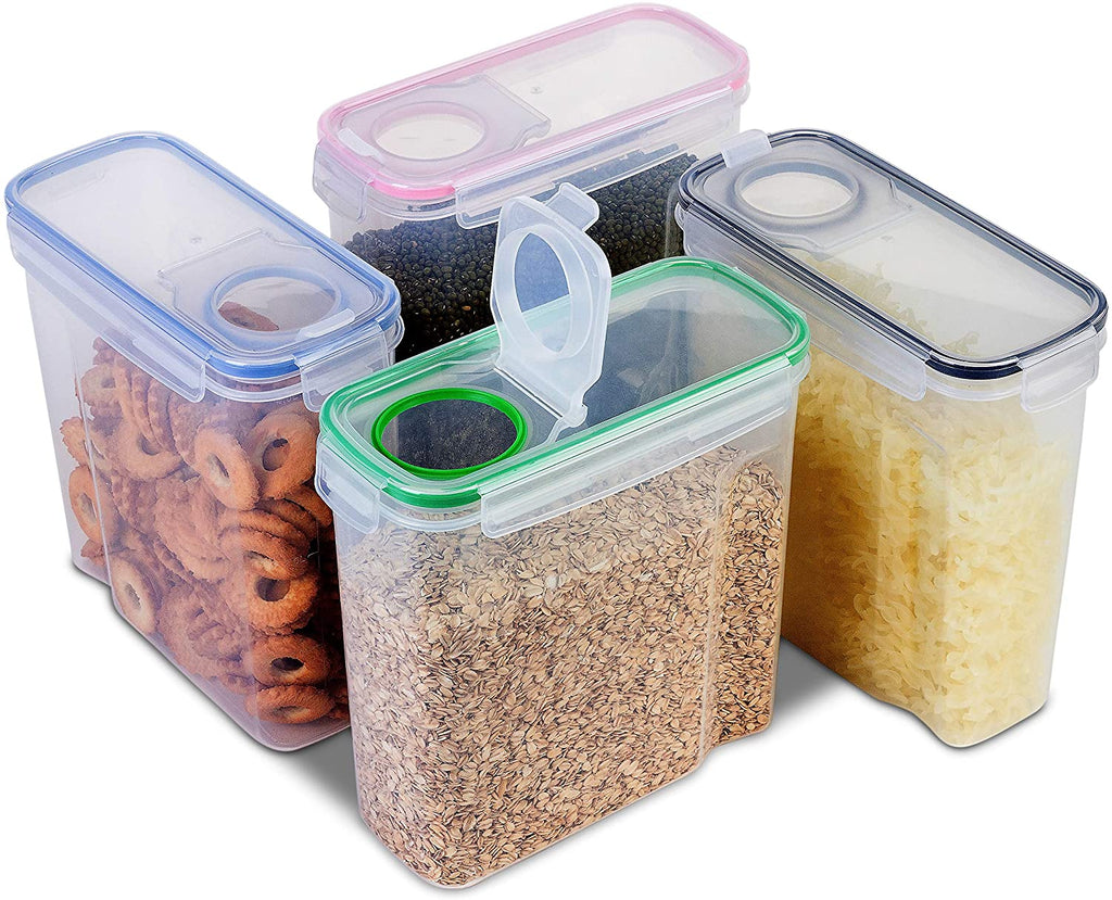 Cereal Containers - Set of 4 Airtight Kitchen Organisers for Rice, Pasta, Beans, Nuts - with Reusable Black Labels, Marker - Food Storage Solutions for Pantry, Cupboard - 4 Litre