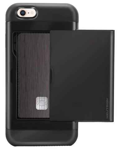 Image of Neutron iPhone Shockproof Case with Card Holder - Protective Credit Card Wallet Slot