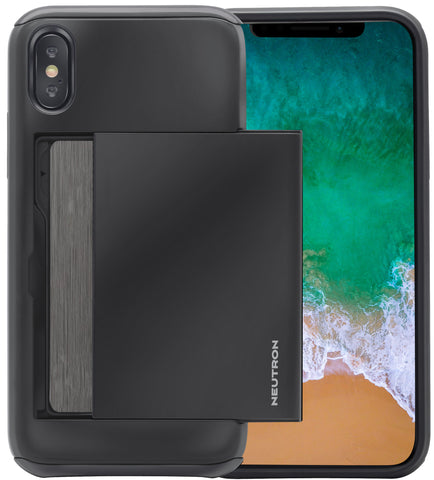 Image of Neutron iPhone X/XS Shockproof Case with Card Holder - Protective Credit Card Wallet Slot