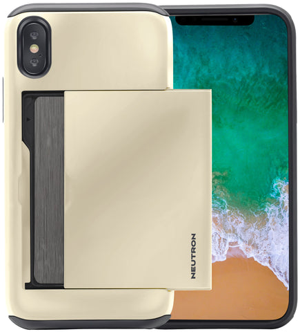 Image of Neutron iPhone XSMAX Shockproof Case with Card Holder - Protective Credit Card Wallet Slot