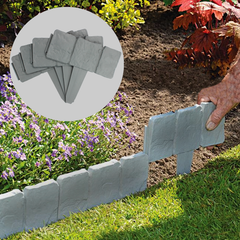 Grey Stone Lawn Edging for Garden Grass Plant Flower Bed Border - 2.5M