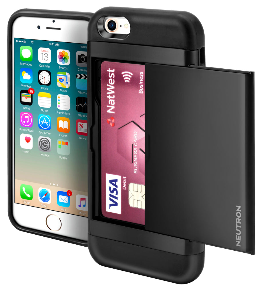 Neutron iPhone Shockproof Case with Card Holder - Protective Credit Card Wallet Slot