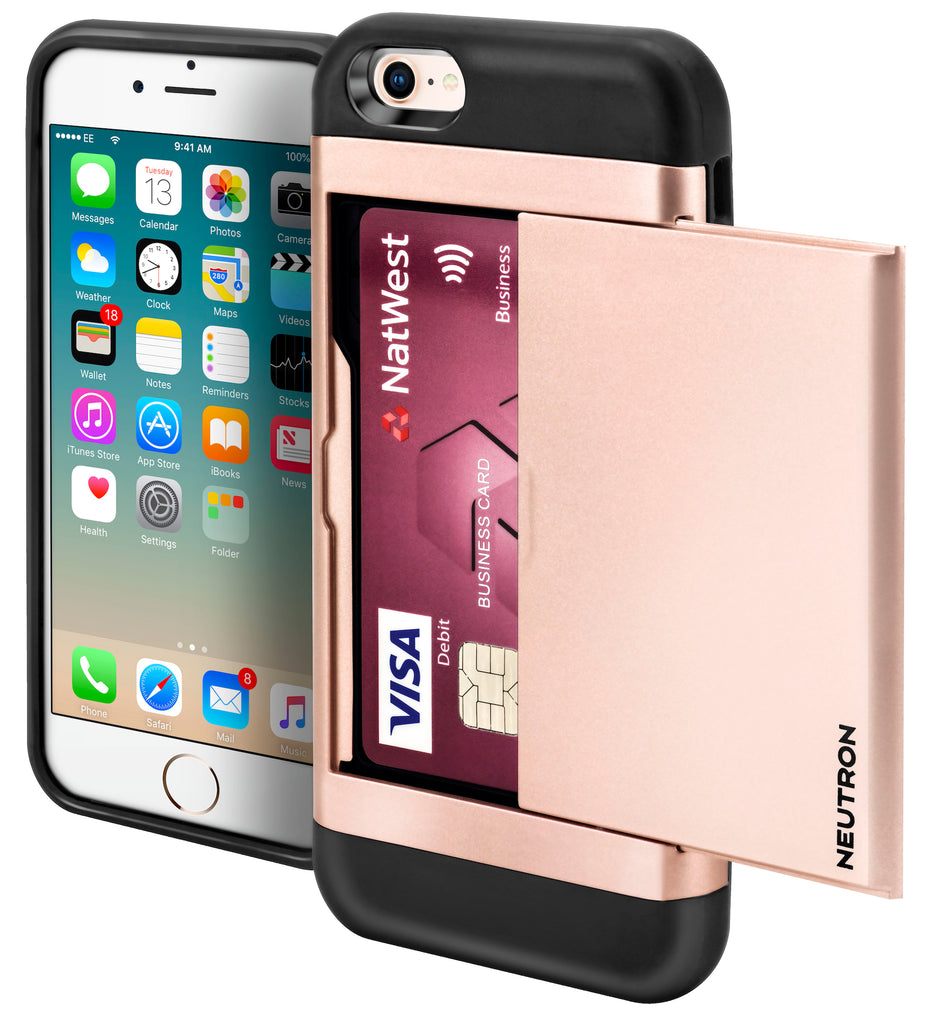 Neutron iPhone 5/5S/SE Shockproof Case with Card Holder - Protective Credit Card Wallet Slot