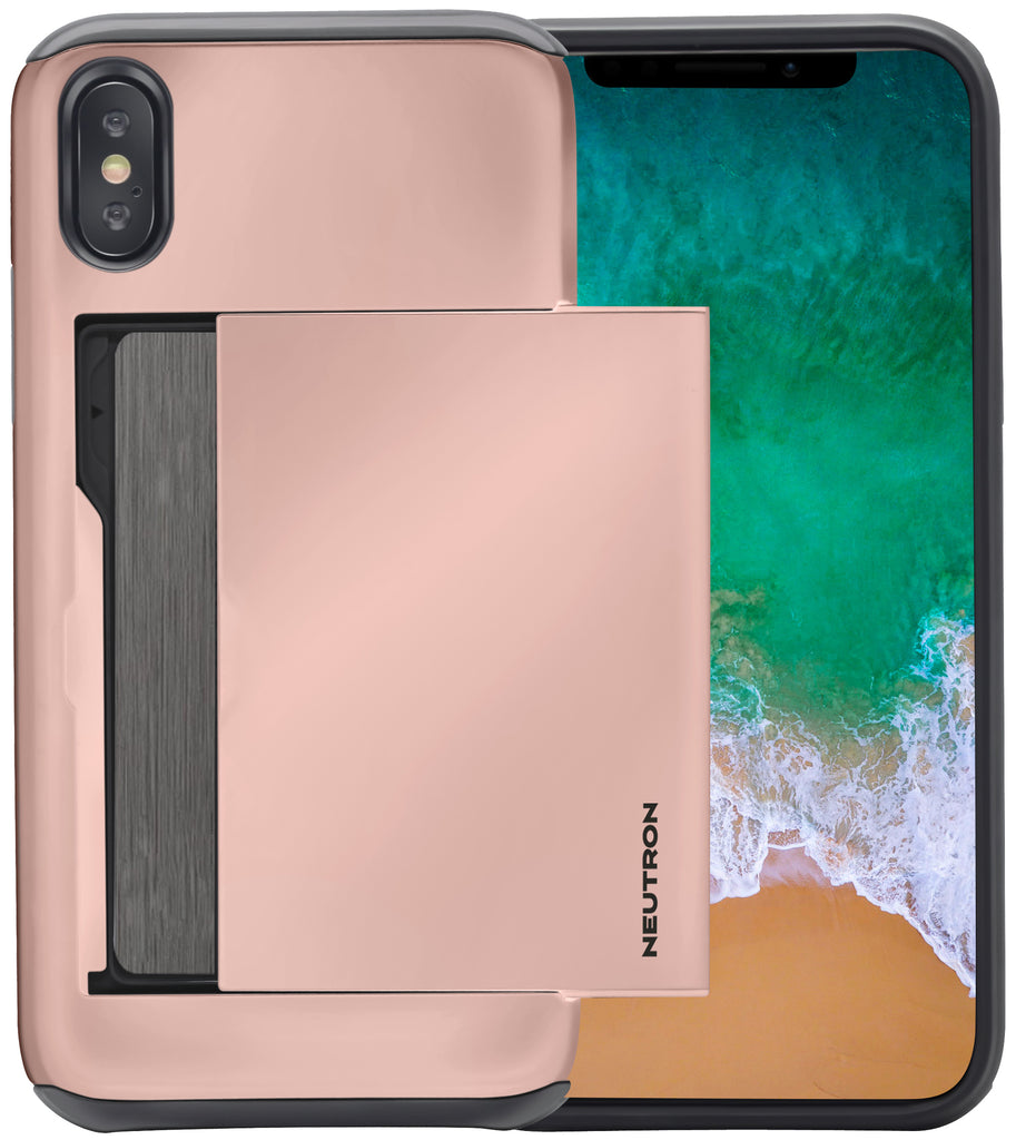 Neutron iPhone XSMAX Shockproof Case with Card Holder - Protective Credit Card Wallet Slot