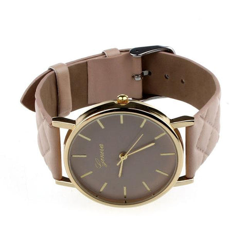 Image of Checkered Leather Analog Quartz Watch