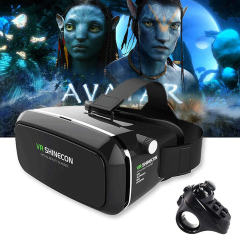 "Image of Shinecon Pro Virtual Reality Headset for 4 - 6"" Smartphone + Controller"