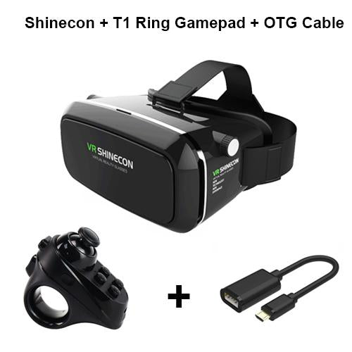 "Shinecon Pro Virtual Reality Headset for 4 - 6"" Smartphone + Controller"