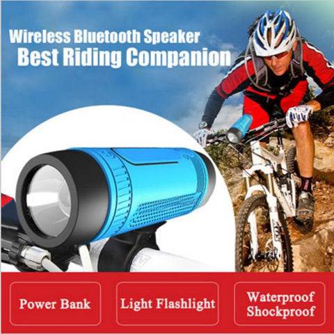 Image of Bluetooth Speaker with Flashlight and Power Bank + Bike Mount and Carabiner