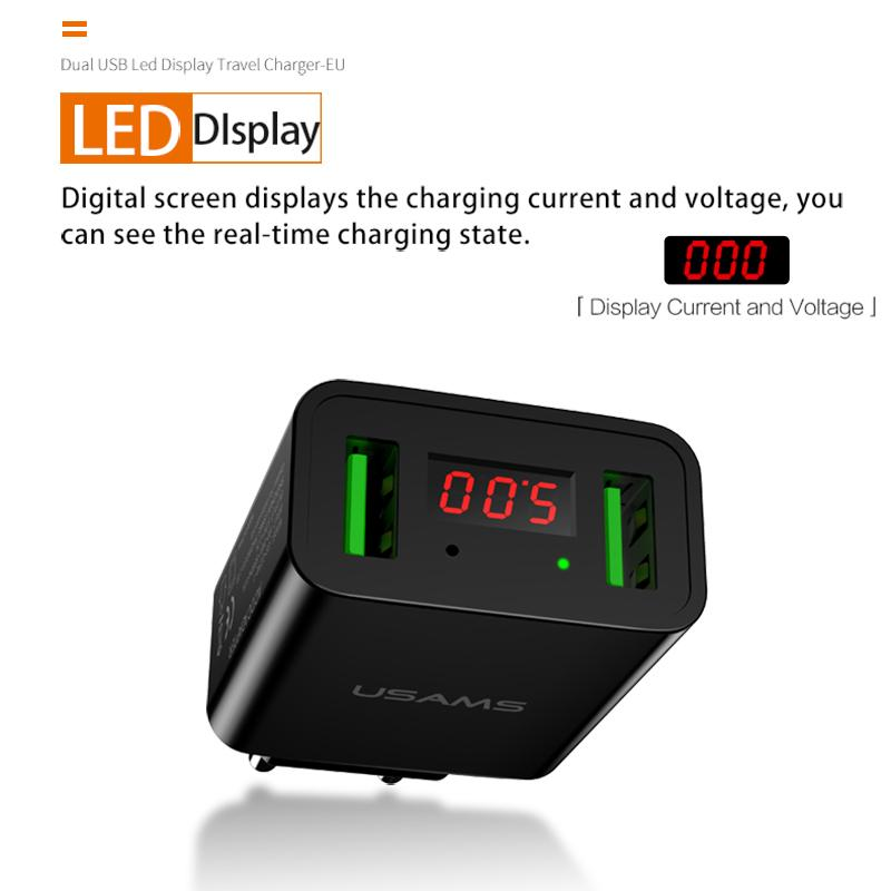 LED Display Dual USB Phone Smart Charger