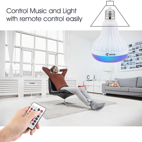 Image of VONTAR LED Light Bulb +  Wireless Bluetooth Speaker + Remote Control