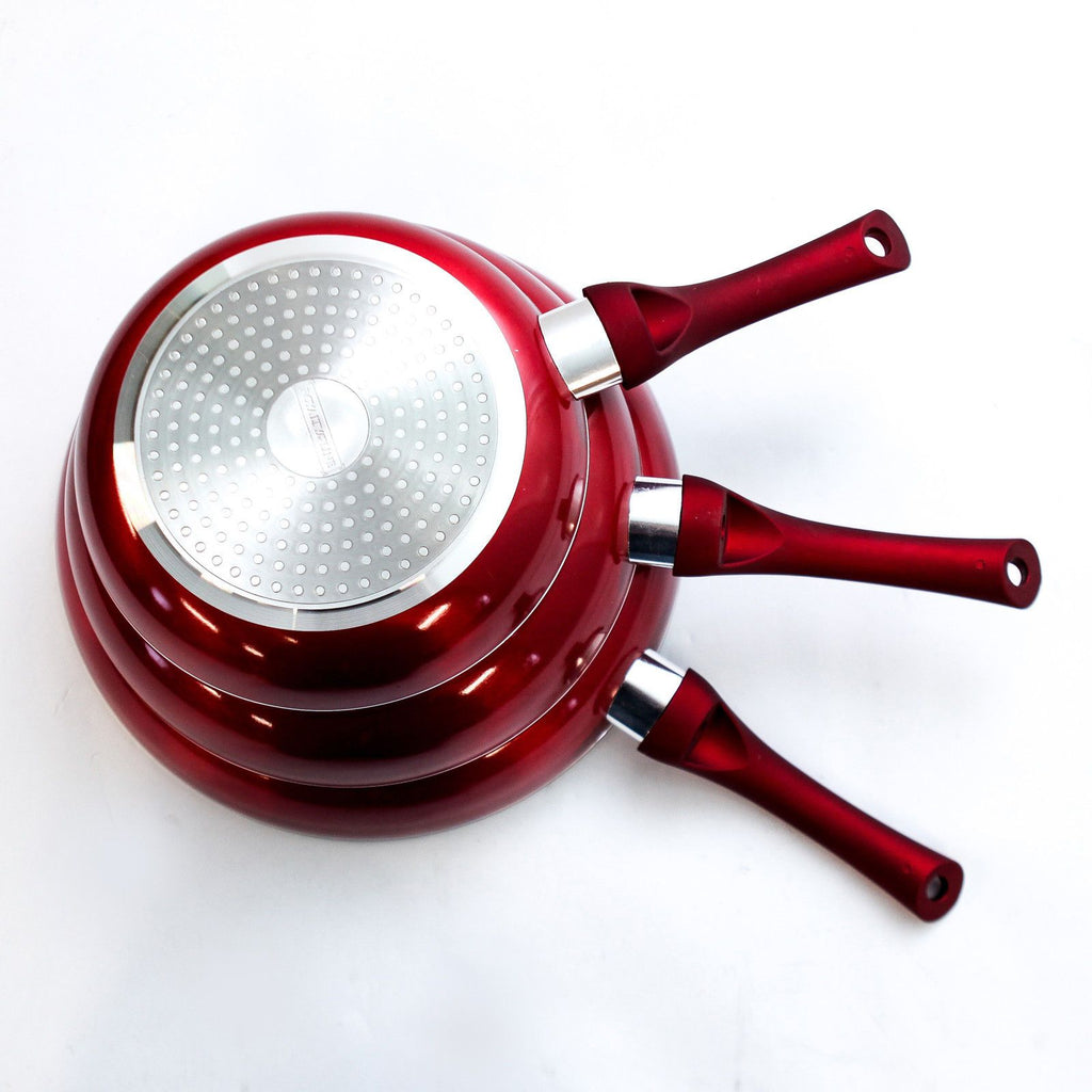 Ceramic Stone Ware Marble Induction Frying Pan Set - 3 Pcs