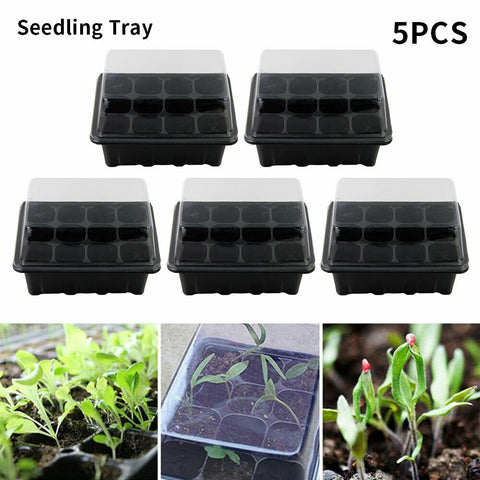 Image of Seed Tray Seedling Starter Trays for Growing Starting Germination - 12 Set x5