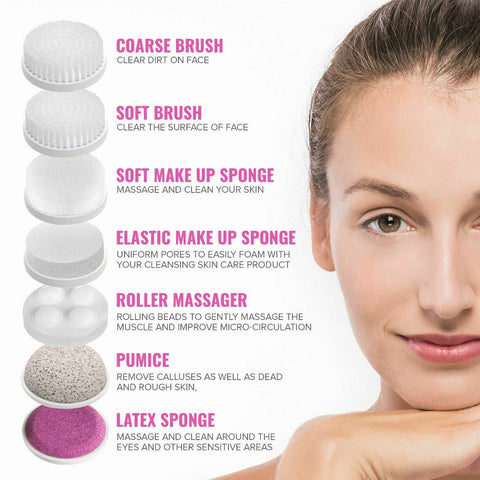 Image of ELECTRIC FACIAL SONIC SPA CLEANSING BRUSH - BEAUTY CLEANSER EXFOLIATER - 7in1