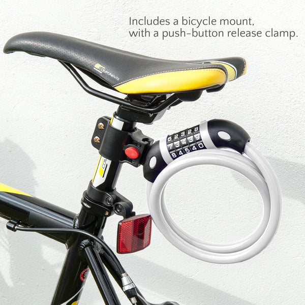 Combination Bicycle Lock w/ push button release clamp