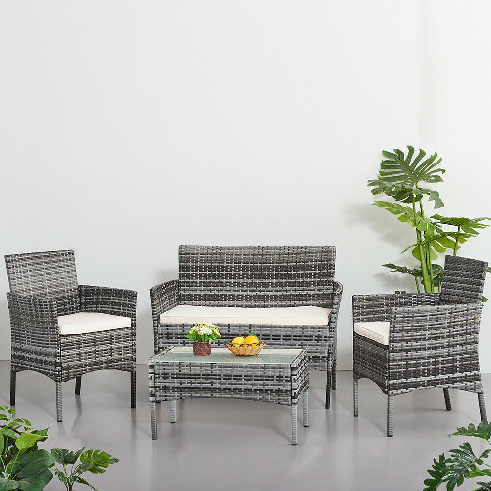 Rattan Garden Furniture Patio Set - Table Chairs Sofa with Cushion -  4 Peice