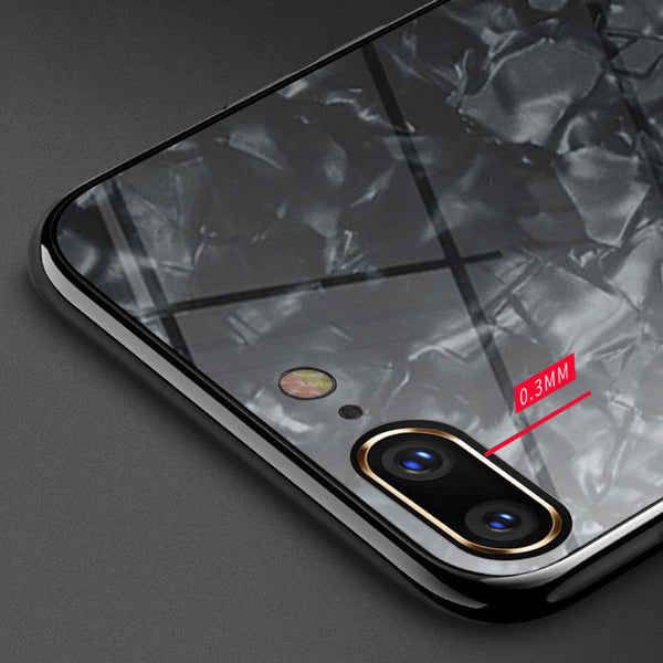 marbled tempered glass case for iPhone