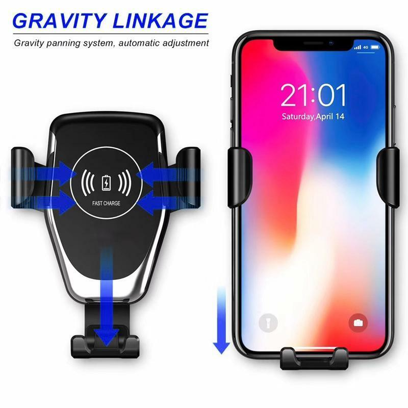 Wireless QI Charger Mount Car Holder with Auto Clamp