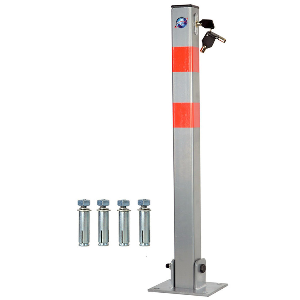 LOCKABLE PARKING BARRIER FOLDING CAR PARK BOLLARD SECURITY DRIVEWAY POST - 3 KEYS
