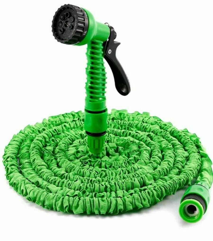 75-200FT Extra Long Retractable Expandable Magic Garden Hose Pipe & Spray Gun UK