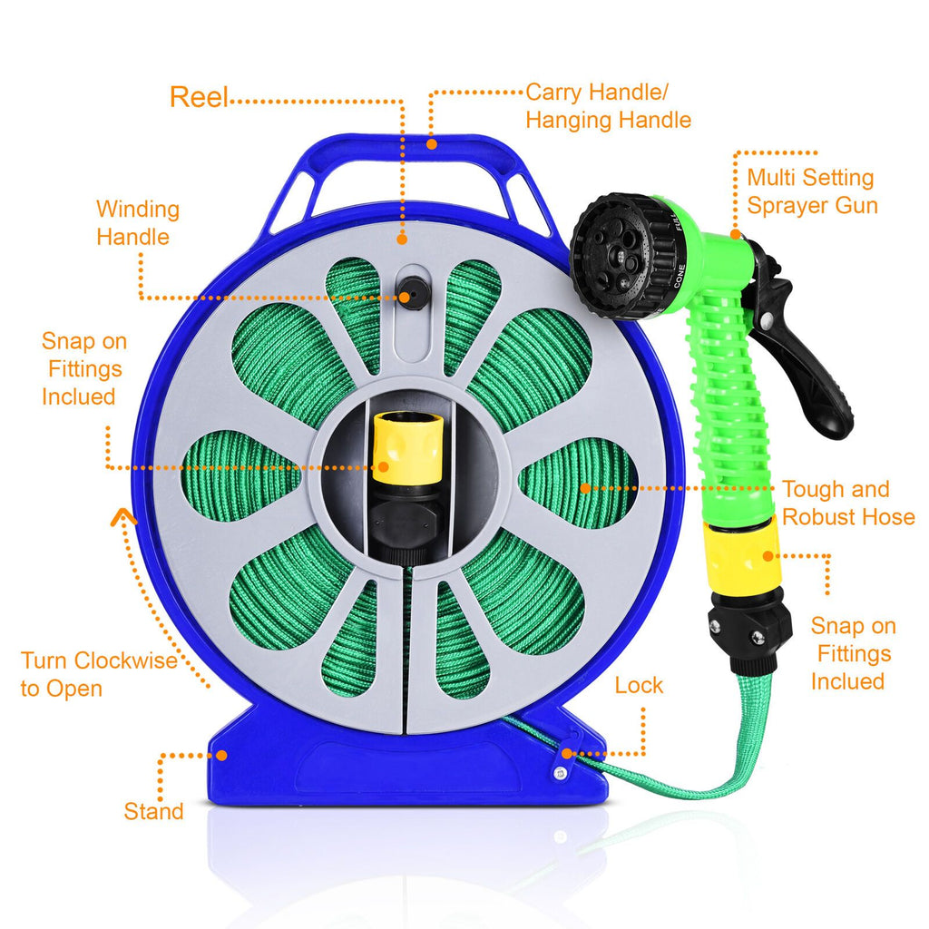 Flat Garden Hose Reel & Pipe Outdoor with Spray Nozzle Gun Plants Watering 50ft