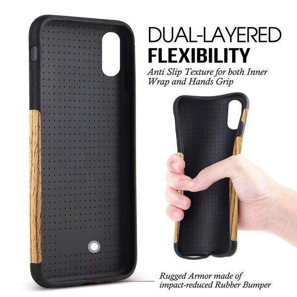 Dual layer flexible Wooden Case for iPhone