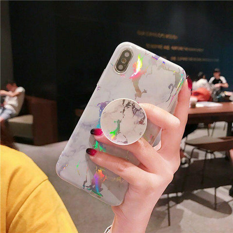 Image of Soft Marble Case with Pop Up Socket Phone Holder For iPhone 11 XR 7 8 6