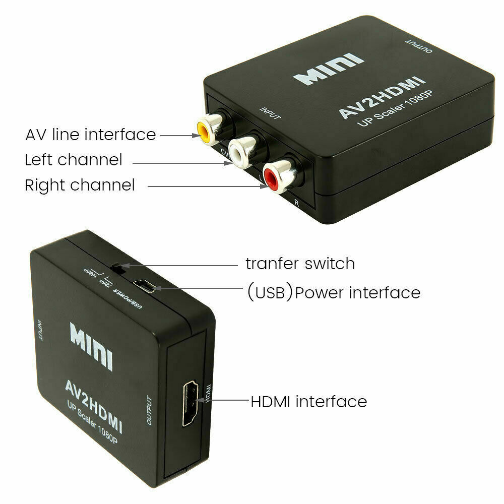 RCA CVBS AV to HDMI 1080P Video Audio Composite Converter Mini Adapter HDTV/DVD