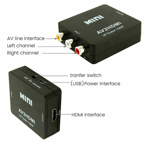 Image of RCA CVBS AV to HDMI 1080P Video Audio Composite Converter Mini Adapter HDTV/DVD