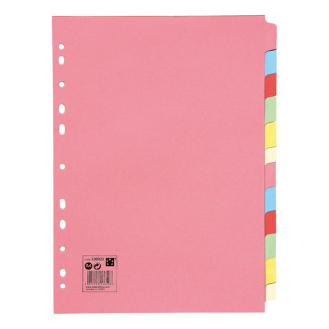 Image of Subject File Filing Dividers Folder - Multi Colour A4 Punched Index Sheets - 5-20
