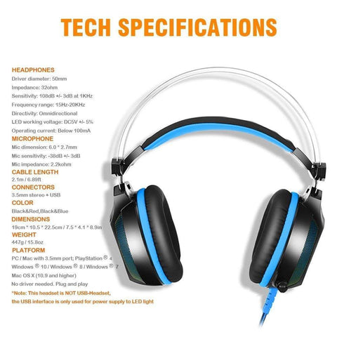 Image of Gaming Headset for PlayStation PS4 Tablet PC 3.5mm Headphone Mic LED Laptop