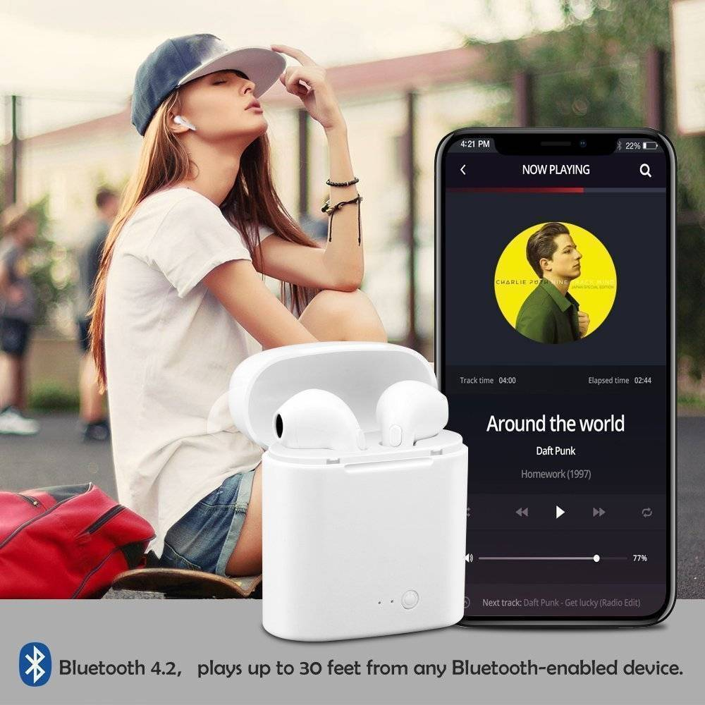 Bluetooth Wireless Earphones / Earbuds For Apple iPhone with Charging Case