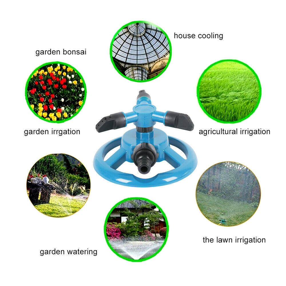 Rotating 3-Arm Automatic Garden Sprinkler Lawn Watering System