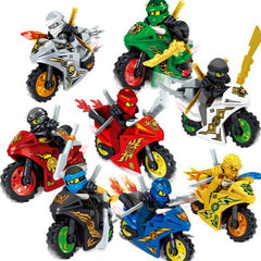 Ninja Motorcycle Minifigures Set - Fits Lego Blocks - 8Pcs