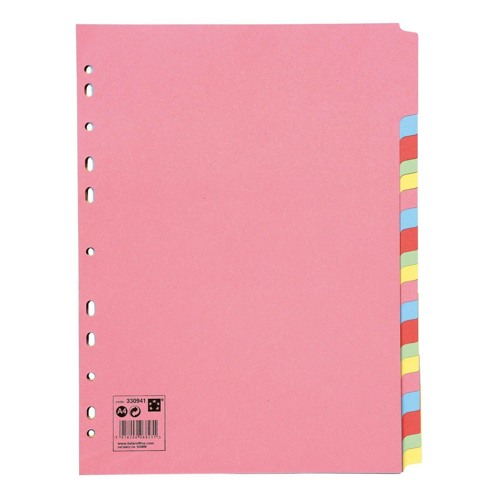 Subject File Filing Dividers Folder - Multi Colour A4 Punched Index Sheets - 5-20