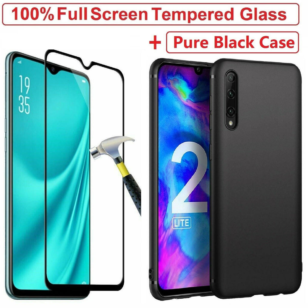 Silicone Protective Case + Tempered Glass Screen Protector + For Honor 20 20 Lite 10 9 8S 8X 8A