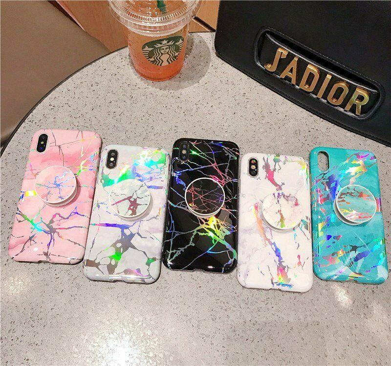 Soft Marble Case with Pop Up Socket Phone Holder For iPhone 11 XR 7 8 6