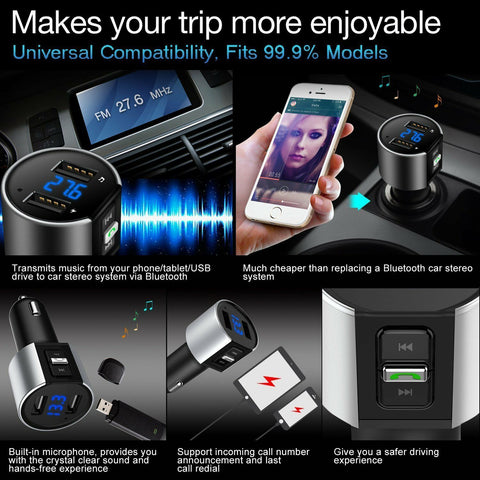 Image of Bluetooth In-Car MP3 FM Wireless Transmitter Dual USB LCD Charger Kit Handsfree