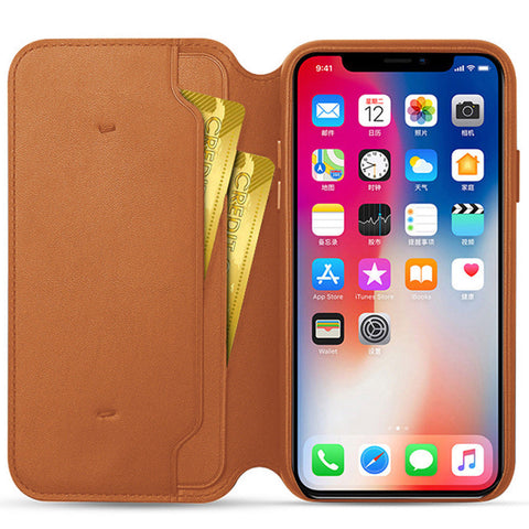 Image of Genuine Leather Folio Flip Wallet Case Cover For Apple iPhone 6,6s,7,8,X,XS,XR,XS MAX