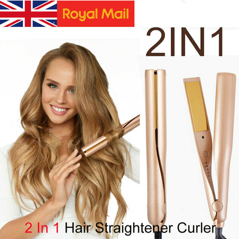Image of 2 In 1 Hair Curler / Straightener for Curling Straightening Hair